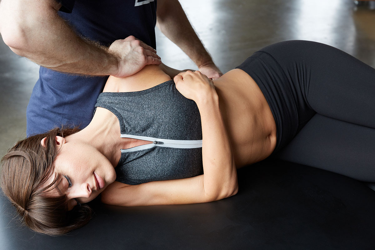 woman being stretched