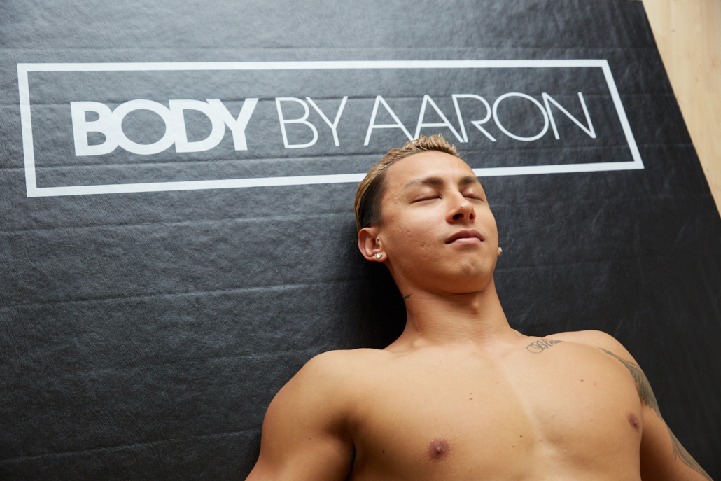 athlete relaxing after massage